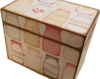 Decoupaged Recipe Box, Wedding Guest Book Box, Holds 4x6 Cards, Storage Organization, Bridal Shower, Large Box, Mason Jar Box, MADE TO ORDER