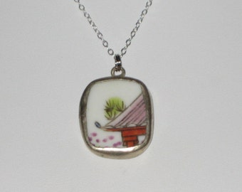 Pagoda Necklace - Petite Pottery Shard Pendant on 16 inch Sterling Silver Chain