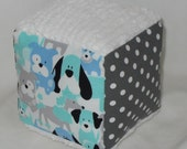 Dog Fabric and Chenille Block Rattle Toy - SALE