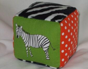 Green Zaza Zoo Fabric Block Rattle - SALE