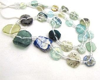 Roman Glass Beads - Lightweight strand of Various Aqua, Pale Greens, Turquoise Ancient Transparent Glass Discs