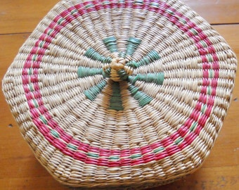 Woven Sewing or trinket basket - red and green accents