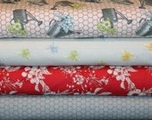 Fabric, Fat Quarter Bundle, 4 Fat  Quarters,  Moda Bee My Honey Farm Bouquet Watering Can Vintage, Mary Jane Butters Farm, Fabric Sale