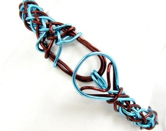 Blue and Brown Bracelet, Turquoise Wire Bangle, Braided Wirework