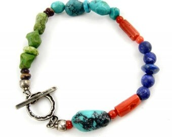 Colorful Gemstone Bracelet Turquoise Multicolor Orange Bamboo Coral Red Green Blue