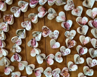 Paper hearts garlands, PEONY and ROSES Hearts, paper garland, heart garland, wedding garland, bridal shower, 10 FEET garland