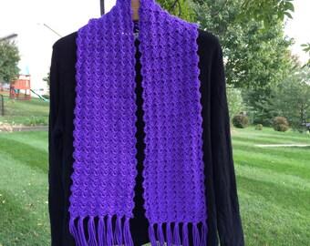 Purple Crocheted Fringed Scarf