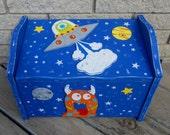 Toy Box MONSTERS - Hand Painted Keepsake - Seat & Storage