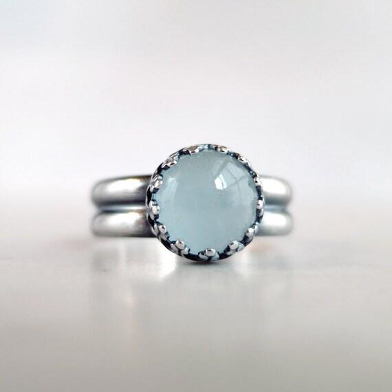 aquamarine ring sterling silver seafoam by barrondesignstudio