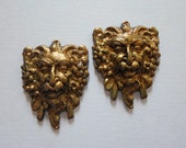 Vintage Oxidized Brass Green Man Findings - Fairy Woodland Findings