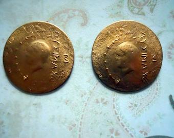 2 Vintage Brass Replica Roman Coins