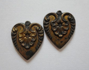 Vintage Oxdized Brass Heart Charms