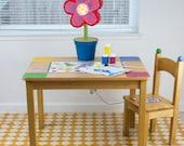 "Splat Mat/Tablecloth ""Saffron Chain"" - Laminated Cotton BPA  & PVC Free - Choose Your Size below!"