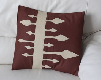 Brown Pillow Cover - Brown Cushion Cover - Unique Pillow Cover - Appliqued Pillow