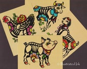 Day of the Dead POSTCARDS Skeleton Farm Animals - Pig, Chicken, Goat, Cow - Set of 4 Designs