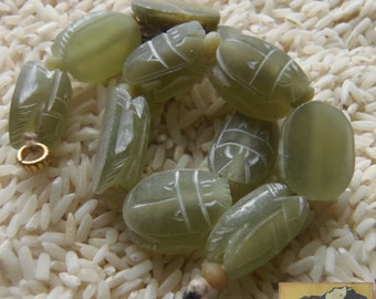Carved Scarab Strand, 18 mm, Serpentine Cabachon,Afghanistan, Item JE28