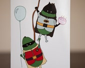 "Avocado Batman and Robin 4.5""x7"" Birthday Card"