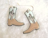 Enameled Cowboy Boot Earrings