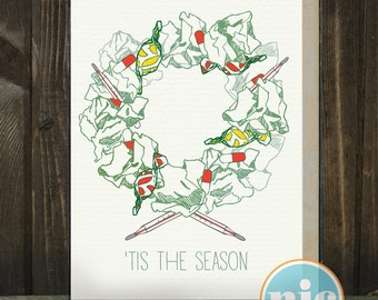 Tis Flu Season BOXED SET -- a different holiday card.