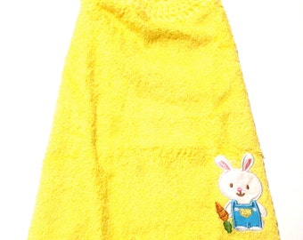 Easter Bunny Yellow Wash Cloth With Buttercup Crocheted Top