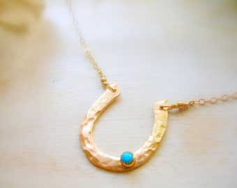 Gold Horseshoe Turquoise Accent Necklace Lucky Charm Necklace - MADE TO ORDER