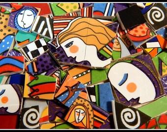 Metropolitan Mosaic Tiles Broken Plates Faces Art Deco Retro Vitromaster People Mix - 100 Hand Cut Mosaic Tiles