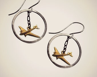 airplane earrings with sterling silver hoops