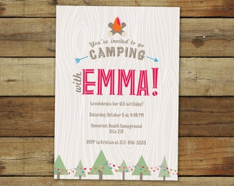 Camping birthday party invitation, printable camping invitation, campout theme birthday party, colors are customizable