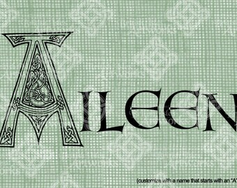 "Digital Download Letter A Celtic Knots Illumination, Animal Inspired, Customize Name or use ""A"" image alone, digi stamp, St Patricks Day"