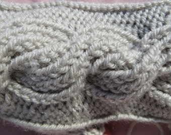cable fingerless gloves, braided, braid --- medium