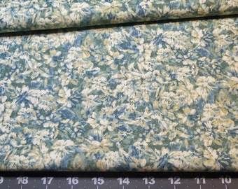 Fabric 1/2yd Ancient Rythms Fossilized Flowers in Blues Greens & Cream designed by David Ryan for Avlyn Fabrics