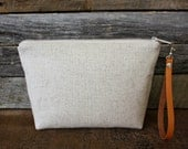 Genuine Leather and Natural Linen Slub fabric Wristlet