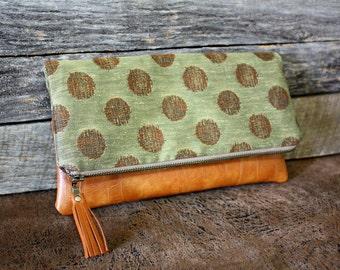 Olive Green Upholstery Dot Foldover Clutch / Leather Tassel / Kindle Case