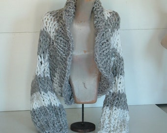 Knitting Patterns For Shrugs With Shawl Collar : Shrug super chunky knit shawl collar sweater by wonderfulstore