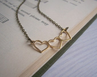 Sweetheart necklace - dainty heart charm on gold - handmade