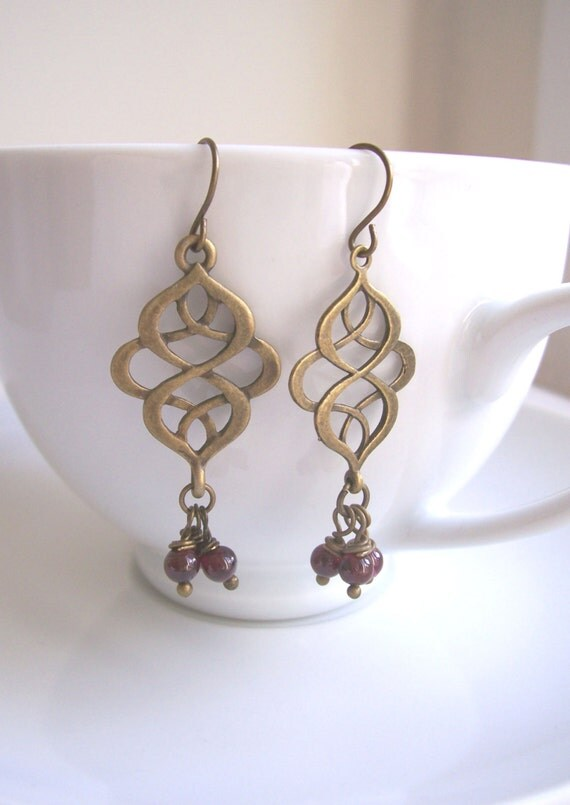 Garnet Cluster earrings with Golden Swirls - precious stones - handmade