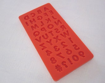 alphabet number hashtag silicone rubber mold - 8 designs - resin, polymer clay, mod melts, candy, utee, plaster, wax, soap, epoxy clay