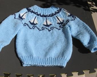Handknit Sailboat Yoke/Ski Sweater in Blue and White