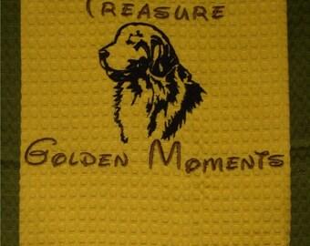 Treasure Golden Moments - Tea Towel - Kitchen Towel - Dish Towel - Home Decor - Golden Retriever
