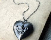 Heart Locket Necklace, Antiqued Silver Heart Locket Necklace, Large Silver Heart Locket Necklace, Long Locket Necklace, Silver Locket