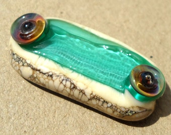RESERVED for Bmatt-Rainbow Serpent Stick-Teal Tide-  handmade lampwork bead free form stick with rainbow striped cane and sea urchin texture