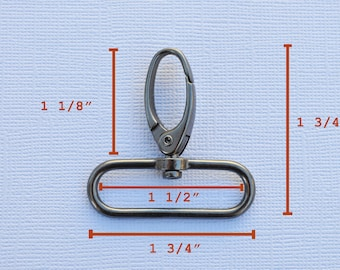 FREE SHIPPING--20 Gunmetal Swivel Clasps Hooks with 1 1/2 inch loop end