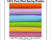 100 Percent Pure Wool Felt - Spring Shades - 6 squares