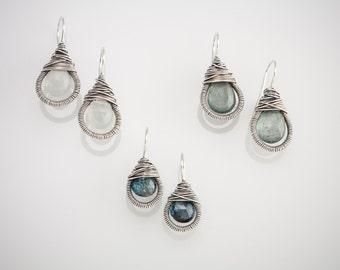 Teardrop Wrapped Earrings in Silver