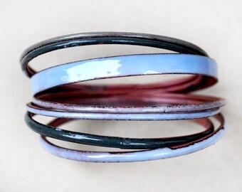 Grey-Blue Bangle Set - Handmade Enamel Bracelets