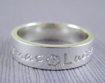 Personalized mothers ring, sterling silver, Mommy ring, Grandmothers ring, Engraved ring, Name ring,  Keepsake ring,