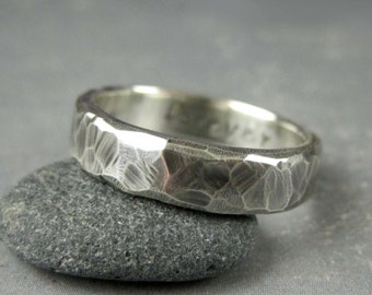 Personalized rustic wedding ring, custom engraved, Rough hewn mens wedding band, 5 or 6mm, hammered silver ring, metalsmith,black silver