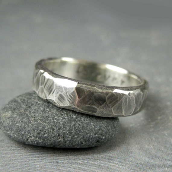 Personalized Rustic Wedding Ring Custom Engraved Rough Hewn
