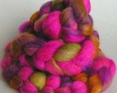 Roving Top Silk BFL Wool Fiber SMOKIN CYMBIDIUM Superfine Bfl and Tussah Silk Hand Painted Phatfiber Feature Spin Felt Craft Roving 4 ounces