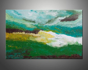 Art Painting Original Abstract Painting, Abstract Landscape Canvas Art, Modern Texture Palette Knife Original Painting Green Turquoise